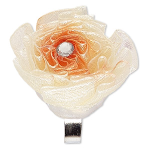 ring, organza / acrylic rhinestone / silver-finished steel, cream / orange / clear, 30x30mm-35x35mm flower, adjustable. sold individually.