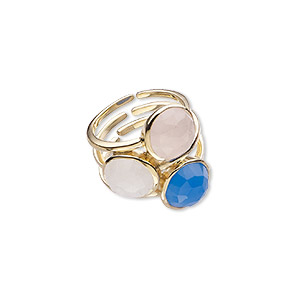 ring, rainbow moonstone / blue chalcedony (natural / dyed) / gold-finished sterling silver, 24.5mm wide, size 8. sold individually.