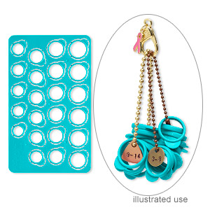 ring sizer, plastic, teal, 7-3/4 x 4-1/2 inches, pop out, sizes 3-14. sold individually.