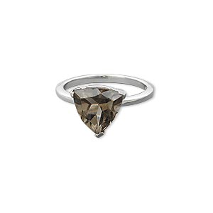 ring, smoky quartz (heated / irradiated) and sterling silver, 10x10x10mm faceted triangle, size 7. sold individually.