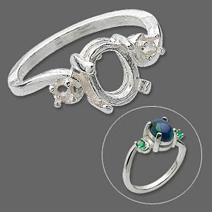 ring, sterling silver, (2) 2.5mm 4-prong round settings and (1) 8x6mm 4-prong oval setting, size 7. sold individually.