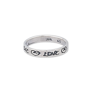 ring, sterling silver, 3.5mm wide with love and hearts design, size 8. sold individually.