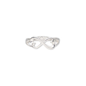 ring, sterling silver, 7.5mm wide with infinity heart design, size 7. sold individually.