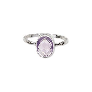 ring, sterling silver and amethyst (natural), 10x8mm faceted oval, size 9. sold individually.
