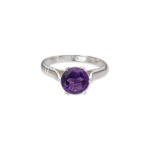 ring, sterling silver and amethyst (natural), 8mm faceted round, size 7. sold individually.