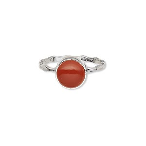 ring, sterling silver and carnelian (dyed / heated), 9mm round, size 7. sold individually.