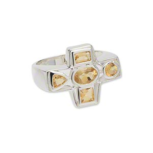 ring, sterling silver and faceted citrine (heated), 23x18mm cross, size 9. sold individually.