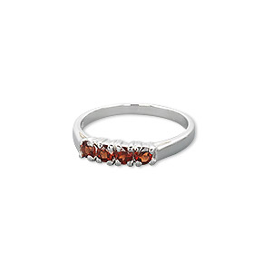 ring, sterling silver and garnet (natural), 3mm faceted round, size 7. sold individually.