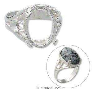 ring, sterling silver, branch band with 16x12mm 4-prong oval setting, size 8. sold individually.