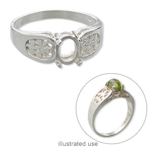 ring, sterling silver, filigree band with 7x5mm 4-prong oval setting, size 7. sold individually.