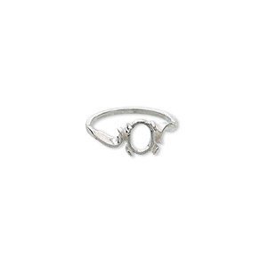 ring, sterling silver, swirl band with 8x6mm 4-prong oval setting, size 7. sold individually.