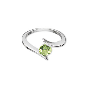 ring, sterling silver with peridot (natural), 6mm faceted round, size 7. sold individually.