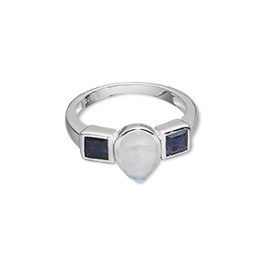 ring, sterling silver with rainbow moonstone and iolite (natural), 9x6mm teardrop cabochon and (2) 4x4mm faceted squares, size 7. sold individually.