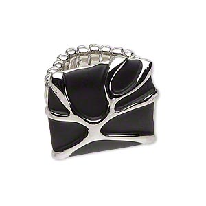ring, stretch,  enamel and rhodium-plated pewter (zinc-based alloy), matte black, 24x23mm square, size 7. sold individually.