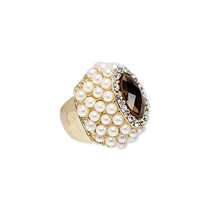 ring, stretch, acrylic pearl / glass / glass rhinestone / gold-finished pewter (zinc-based alloy), white / topaz brown / clear, 35mm wide, size 8-9. sold individually.