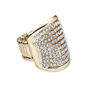 ring, stretch, glass rhinestone / plastic / gold-finished pewter (zinc-based alloy), clear, 26.5mm wide with rectangle, size 7-8. sold individually.
