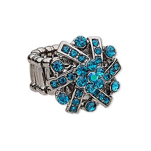 ring, stretch, glass rhinestone and gunmetal-plated pewter (zinc-based alloy), teal and teal ab, 24x23mm flower. sold individually.