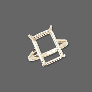 ring, sure-set™, 14kt gold, 16x12mm 4-prong emerald-cut basket setting, size 7. sold individually.