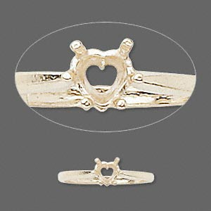 ring, sure-set™, 14kt gold, 5x5mm 6-prong heart basket setting, size 7. sold individually.