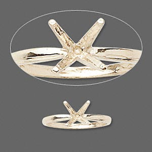 ring, sure-set™, 14kt gold, 8mm 4-prong round setting, size 7. sold individually.