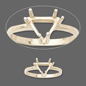 ring, sure-set™, 14kt gold, 8x8x8mm 6-prong triangle basket setting, size 7. sold individually.