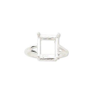 ring, sure-set™, sterling silver, 12x10mm 4-prong emerald-cut basket setting, size 7. sold individually.