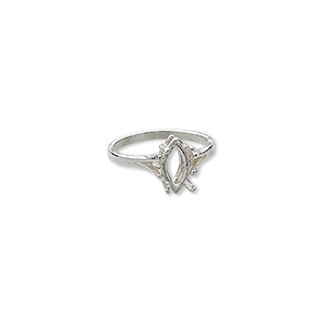 ring, sure-set™, sterling silver, 12x6mm 4-prong marquise basket setting, size 6. sold individually.