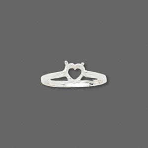 ring, sure-set™, sterling silver, 6x6mm 6-prong heart basket setting, size 7. sold individually.