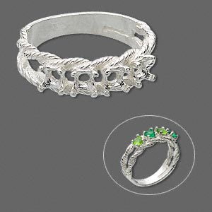 ring, sure-set™, sterling silver, braided band with (4) 3.5mm 4-prong round settings, size 6. sold individually.