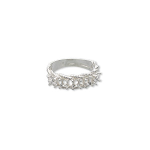 ring, sure-set™, sterling silver, braided band with (5) 3.5mm 4-prong round settings, size 8. sold individually.