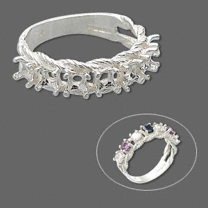ring, sure-set™, sterling silver, braided band with (7) 3.5mm 4-prong round settings, size 8. sold individually.