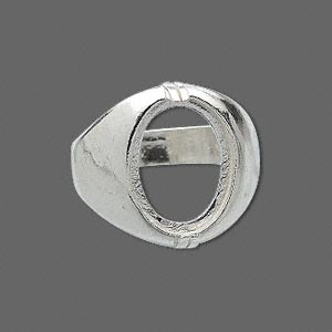 ring, sure-set™, sterling silver, dome band with 16x12mm 2-prong oval setting, size 11. sold individually.