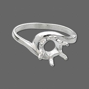 ring, sure-set™, sterling silver, swirl band with 8mm 6-prong round setting, size 8. sold individually.