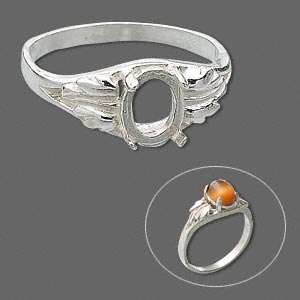 ring, sure-set™, sterling silver, two-leaf band with 8x6mm 4-prong oval setting, size 7. sold individually.
