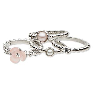 ring, swarovski crystals / acrylic pearl / resin / imitation rhodium-plated pewter (zinc-based alloy), white / pink / crystal clear, 4-8mm wide with 9x9mm flower, size 8. sold per pkg of 4.