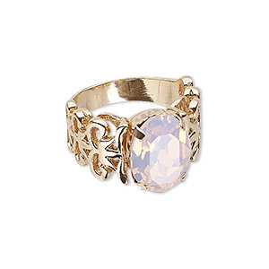 ring, swarovski crystals and gold-finished crystal, rose water opal, 14mm wide with oval and cutout design, size 8. sold individually.