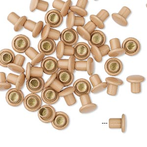 rivet, acrylic and brass, beige, 5.5x5mm with 3mm shank and 2.5mm inside diameter, fits 3.5-5mm hole. sold per pkg of 50.