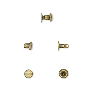 rivet, tierracast, antique brass-plated brass, 5x4.5mm with 2.4mm shank and 1.5mm inside diameter, fits up to 2.5mm hole. sold per pkg of (10) 2-piece sets.