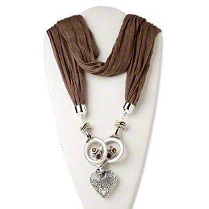scarf necklace, cotton / polyester / acrylic rhinestone / silver-colored plastic, light brown and orange, 49mm open round and 50x50mm puffed heart, 58-inch continuous loop. sold individually.
