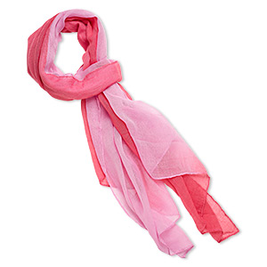 scarf, polyester, pink and hot pink, 60x24-inch rectangle. sold individually.