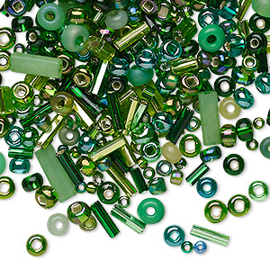 seed and bugle bead mix, glass, multi-green, #2 to #9 round / rectangle / round tube. sold per 18-gram vial.