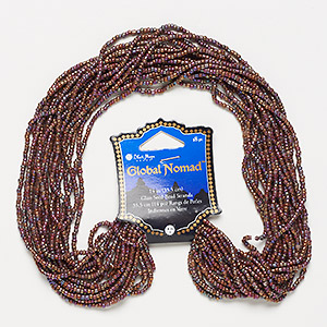 seed bead, blue moon beads, glass, brown rainbow, #10. sold per pkg of (18) 14-inch strands.