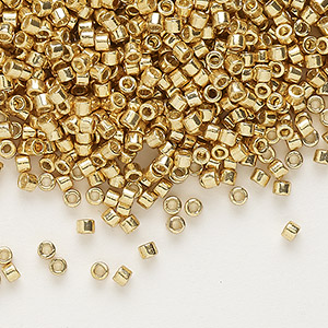 seed bead, delica, duracoat opaque galvanized gold, (db1832), #11 round. sold per 7.5-gram pkg.
