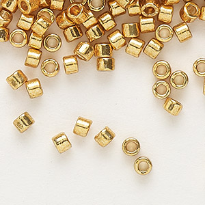 seed bead, delica, duracoat opaque galvanized yellow gold, (db1833), #11 round. sold per 50-gram pkg.