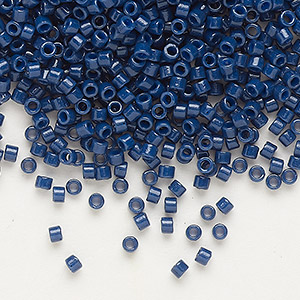 seed bead, delica, duracoat opaque navy blue, (db2143), #11 round. sold per 7.5-gram pkg.