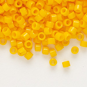 seed bead, delica, duracoat opaque pineapple, (db2103), #11 round. sold per 7.5-gram pkg.