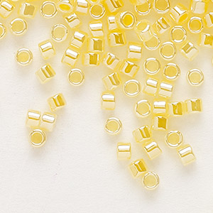seed bead, delica, glass, ceylon color-lined yellow, (db233), #11 round. sold per 7.5-gram pkg.
