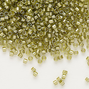seed bead, delica, glass, color-lined chartreuse, (db908), #11 round. sold per 50-gram pkg.
