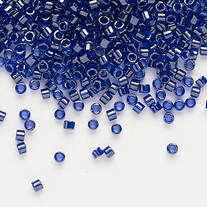 seed bead, delica, glass, color-lined cobalt, (db277), #11 round. sold per 7.5-gram pkg.