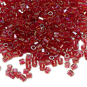 seed bead, delica, glass, color-lined cranberry, (dblc0062), #8 cut. sold per 7.5-gram pkg.